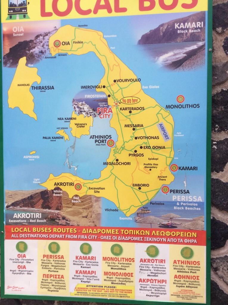 Mapa da rota do Transporte público em Santorini