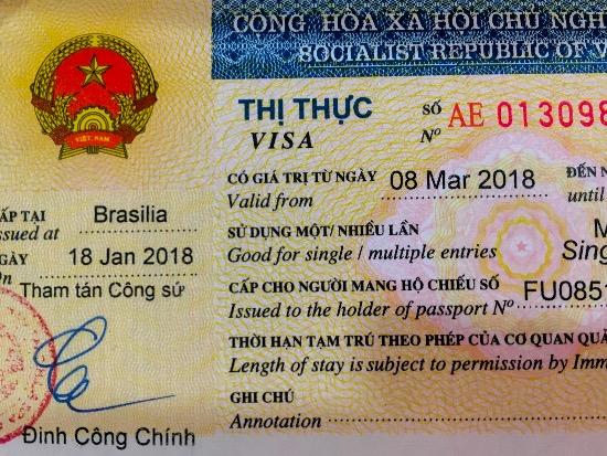 Passaporte com visto para o Vietnã