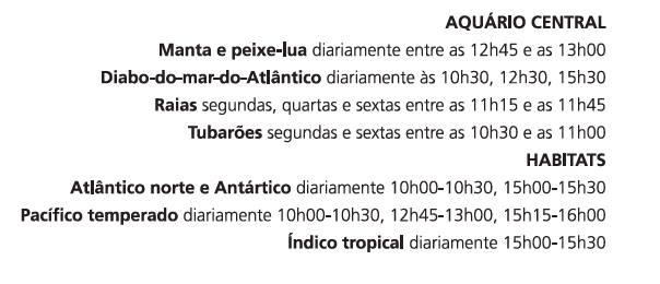 Horário de alimentação dos peixes no Oceanário de Lisboa